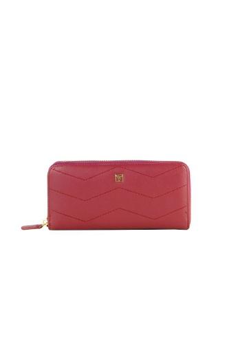 Valentino Rudy red Valentino Rudy Italy Ladies Chevron Zip Around Long Wallet with Wrist strap 040731-502 49995ACEB01821GS_1
