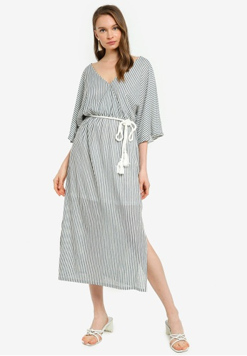 Mink Pink white and blue and navy Stripe Midi Dress 6D883AADF87EF9GS_1