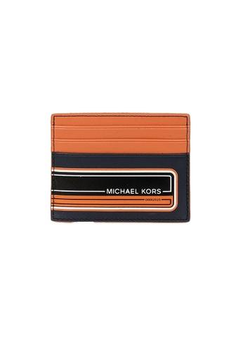 MICHAEL KORS orange and navy Michael Kors Kent Tall Card Case Navy Tangrne 36U0LKND2L F18E2AC0DAAAEDGS_1