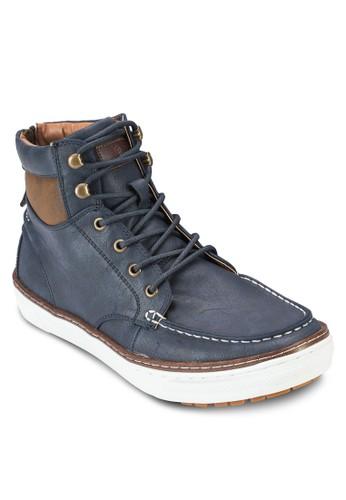 Larmour 京站 esprit拼色仿皮繫帶踝靴, 鞋, 鞋