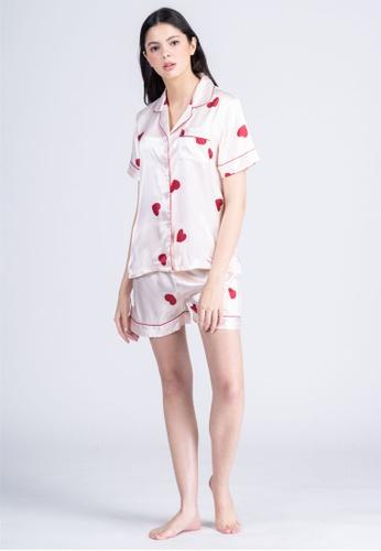 FEMINISM white Silk Shortsleeve Shorts 7B94EAA0DF5BB0GS_1