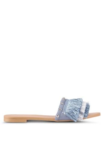 ZALORA 海軍藍色 流蘇飾釘拖鞋 7B80ESH6D490F1GS_1