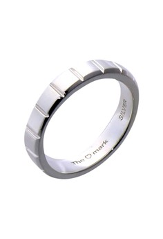 Simple Ridges Silver Ring for Men lr0013m