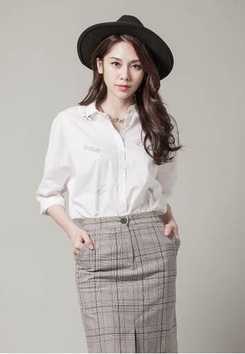 H:CONNECT white SHARKEE Stylish Pattern Shirt F4C54AA837E302GS_1