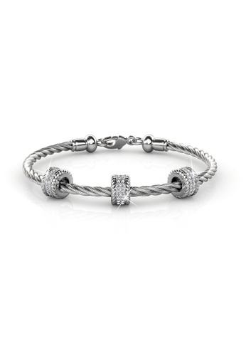 Her Jewellery silver Swarovski® Crystals - Roller Bangle (White Gold) - (18K White Gold Plated) Her Jewellery HE581AC0RAJCMY_1