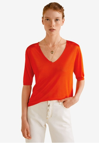 Mango red Fine-Knit Sweater 60246AACF0CDEAGS_1