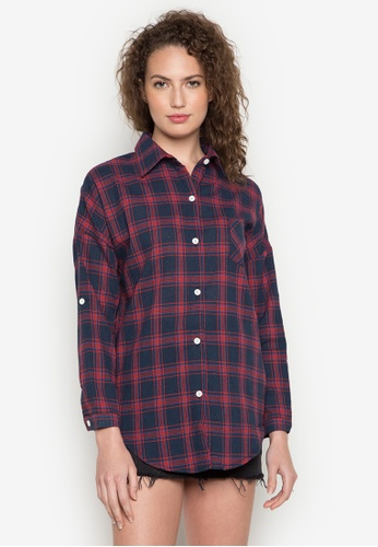 Chase Fashion red and blue and navy Plaid Flannel Shirt 03B6CAAE289AEDGS_1