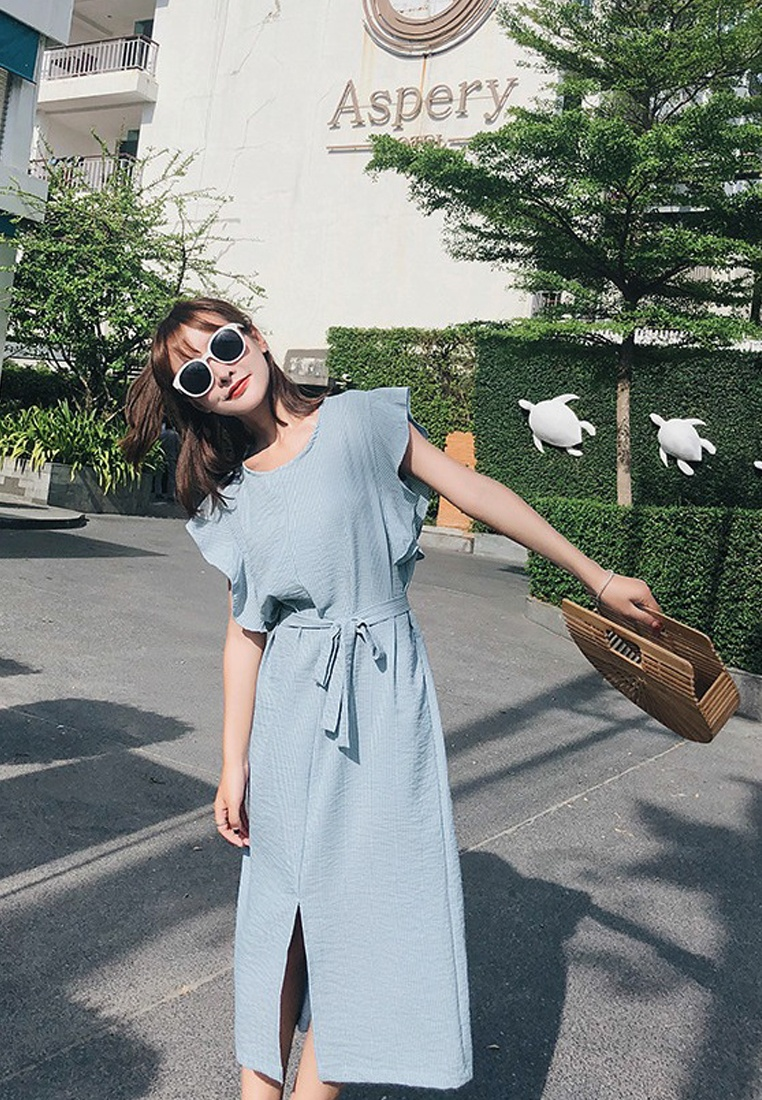 Dress CA062958BL Sunnydaysweety Blue New Piece Sleeves 2018 Short Blue One aBqYnSw