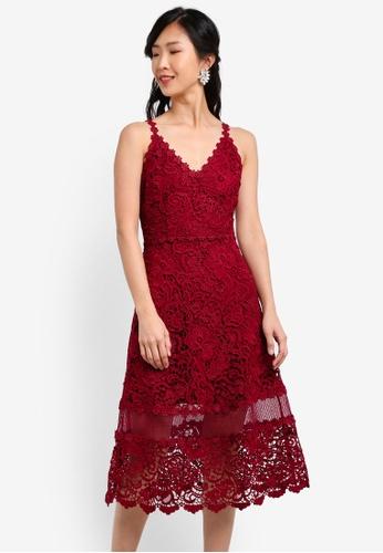 ZALORA red Crochet Lace Flare Midi Dress 7651FAA0A5159EGS_1