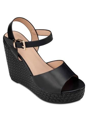 編織楔型跟繞踝涼zalora 順豐鞋, 女鞋, 楔形涼鞋