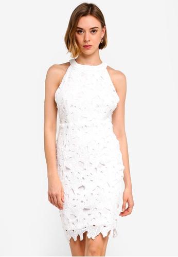 Halter Neck Lace Mini Dress
