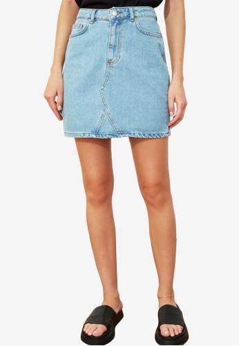 Trendyol blue Basic Mini Denim Skirt 3EDECAA60697DDGS_1