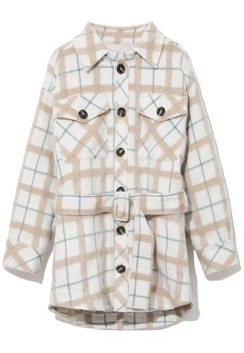 b+ab grey Buckle belt coat D85BAAADE06AF4GS_1