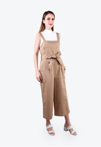 Elle brown Square Neck Belted Dungaree - Khaki 2F8B6AAACF9737GS_1