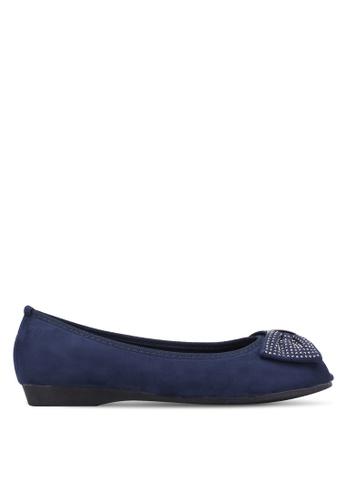 VINCCI navy Daimante Bow Peep Toe Flats VI831SH0S51SMY_1