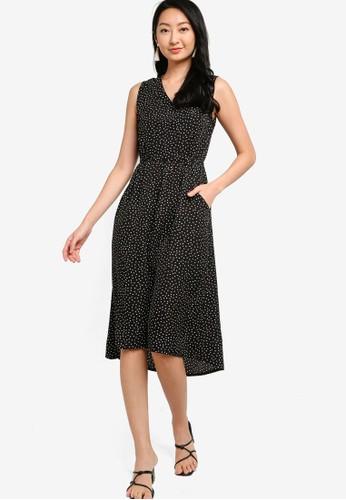 ZALORA BASICS black and multi V-Neck Drawstring Dress C6D4CAA373A2ACGS_1