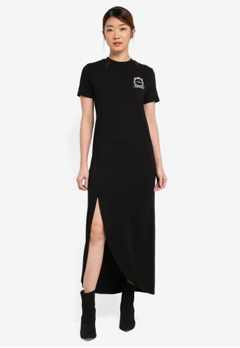 Something Borrowed black Graphic Slit Maxi Dress 11740ZZ5F7FF2CGS_1