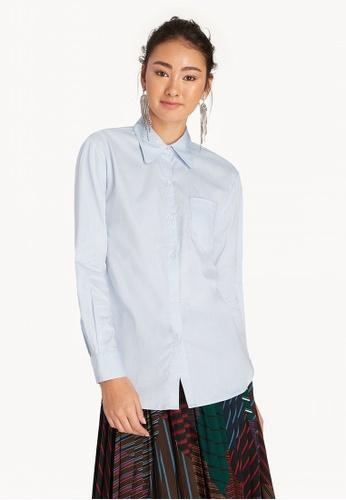 2d424a058 Shop Pomelo Front Pocket Buttoned Up Shirt - Blue Online on ZALORA  Philippines