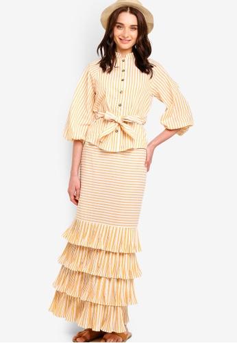 Zalia yellow Raglan Blouse With Riffle Mermaid Skirt Set 1CF89AABBAB42FGS_1