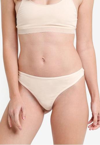 ZALORA CORE beige Core Women's Cotton Spandex Thong D8908US791447EGS_1