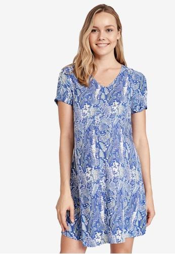 LC WAIKIKI blue Maternity Snakeskin Figured Dress F8392AA6390F51GS_1