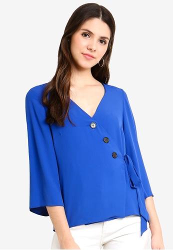 3a54f800a414 Buy Dorothy Perkins Cobalt Button Through Wrap Top Online on ZALORA  Singapore