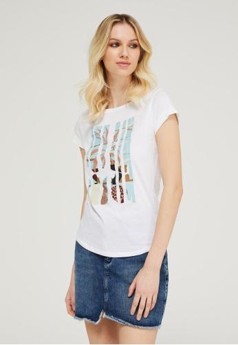 Sisley white Printed T-shirt 2CCA0AA78C4F46GS_1