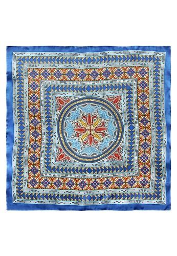Red Stag And Hind blue Red Stag And Hind Blue and Orange Tile Silk Pocket Square BB124AC8710D3FGS_1