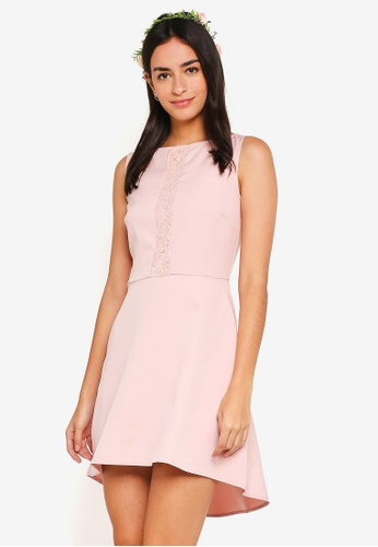 ZALORA pink Bridesmaid Lace Insert Fit And Flare Dress 1FBC4AA8D08C13GS_1