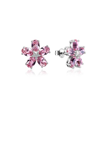 Glamorousky pink 925 Sterling Silver Flower Stud Earrings with Pink Austrian Element Crystal A91D0ACAD0ADBEGS_1