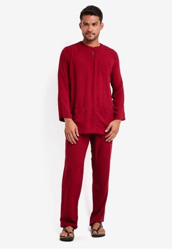 Lubna red Baju Melayu Teluk Belanga 6FD5CAA6603D96GS_1