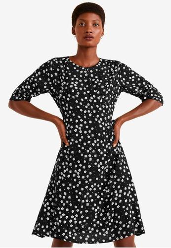 Mango black Floral Print Dress 7F249AA8D5CD97GS_1