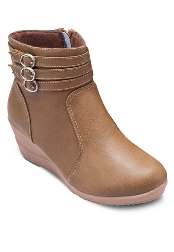 Liz 層次踝帶楔形低筒靴, 女鞋,zalora 心得 鞋