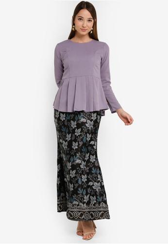 Box Pleat Peplum Kurung from Aqeela Muslimah Wear in Grey
