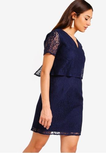 ZALORA navy Short Sleeves Tiered Lace Dress 081CCAA0064C52GS_1