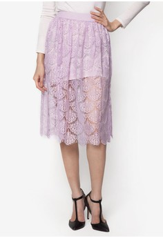 Pattern Sheer Lace Midi Skirt