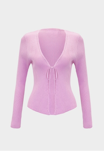 Pomelo pink Tie Front Ribbed Cardigan - Pink 92101AA8ECB30FGS_1