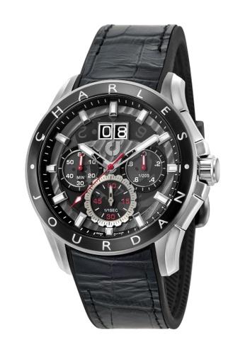 Charles Jourdan black Charles Jourdan Men CJ1035-1332C Black Silicone Leather Watch 1C460AC28564E5GS_1