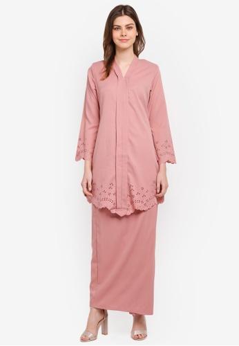 Gene Martino pink Fairy Kurung Kebarung with Floral Designs GE222AA0SR79MY_1