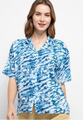 Nade blue Nade FTA38 VCS Ladies kemeja rayon tie dye marmer kerah 2-in-2 kemeja piyama wanita biru E1969AA660E0F6GS_1