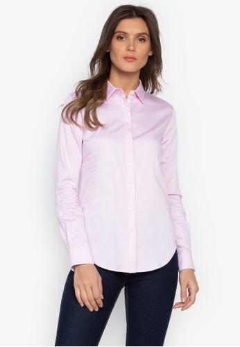 MARKS & SPENCER pink Cotton Rich Long Sleeve Shirt 489CDAAB46BDBBGS_1