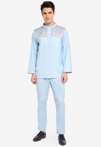 Zalia Homme blue Jacquard Piece Stand Collar Co-ordinate BA18DAA99E118CGS_1