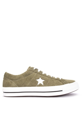 Converse green One Star Vintage Suede Sneakers B8342SH12CCD1EGS_1