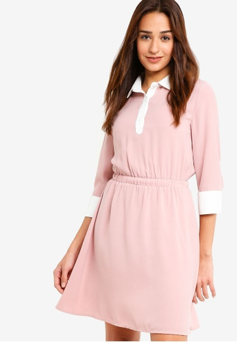 ZALORA white and pink Contrast Fit And Flare Dress 0164CAAB1DD9D0GS_1