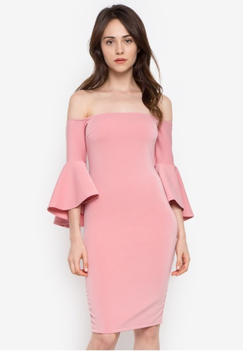 Ashley Collection pink Off Shoulder Bell Sleeves Bodycon Dress 2E26AAAB3FF284GS_1