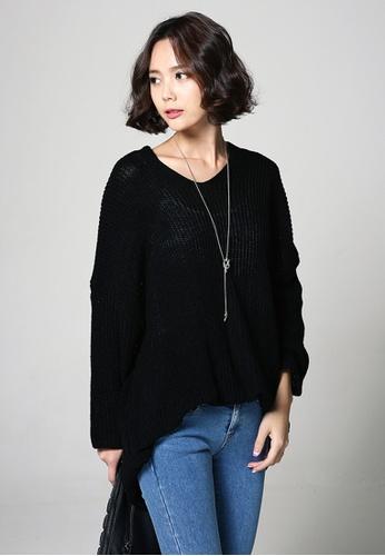 A-IN GIRLS black V-neck Knit Long T-shirt 814DAAAA3C4D28GS_1
