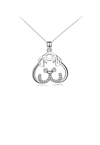 Glamorousky white 925 Sterling Silver Simple Cute Dog Pendant with Cubic Zirconia and Necklace E598BACB39A032GS_1