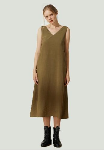 SALIENT LABEL green Asteria Tie-back Midi Dress in Moss 6F870AAD62274FGS_1