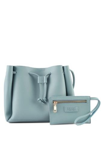 Velvet blue Small Bucket Bag With Pouch 783E6AC79E5418GS_1
