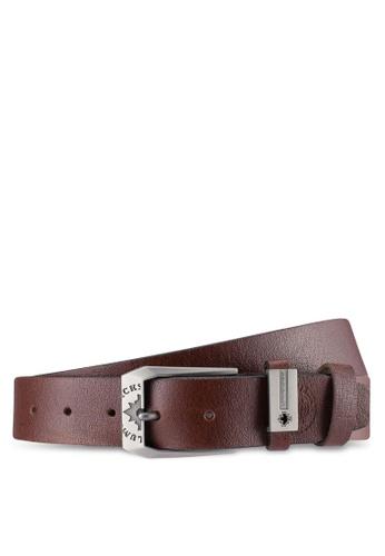Lumberjacks brown Lumberjacks 35mm Faux Leather Belt LU545AC0SMCRMY_1